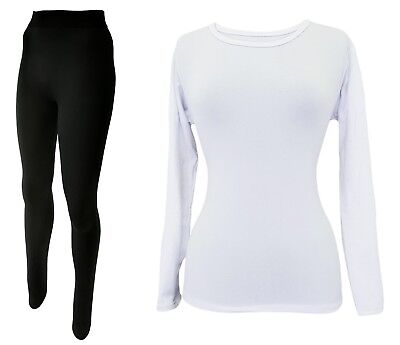 Damen Thermo-Fleece- Unterwäsche - 3 Teile Set -  1x Langarm Shirt + 2x Leggings