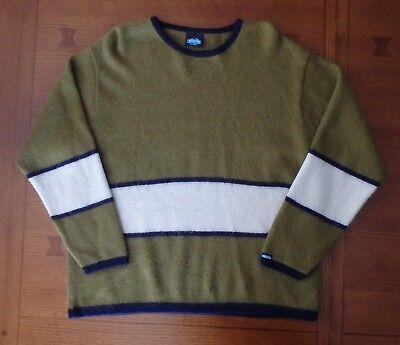 Kavu Mens XL Alpaca Wool Green Navy Cream Stripe Sweater Peru Pullover Long