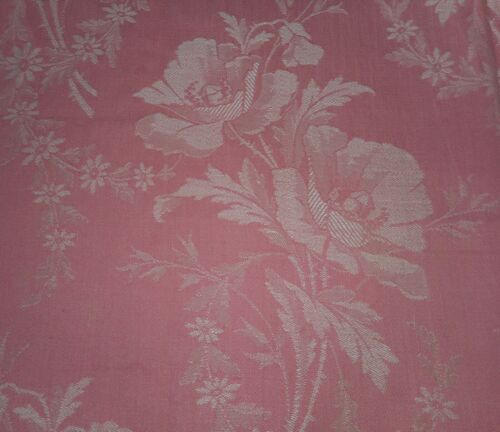 Antique French Shabby Floral Poppy Ticking Damask Cotton Fabric~Blush Coral Pink