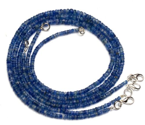 """Natural Gem Nepal Kyanite 3.5 to6mm Rough Unpolished Rondelle Beads Necklace 17"""""""
