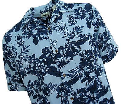 NWT Mens Silk Hawaiian Camp Shirt Aloha Navy Light Blue Casual Bahama Cabana XL - Light Blue Camp Shirt