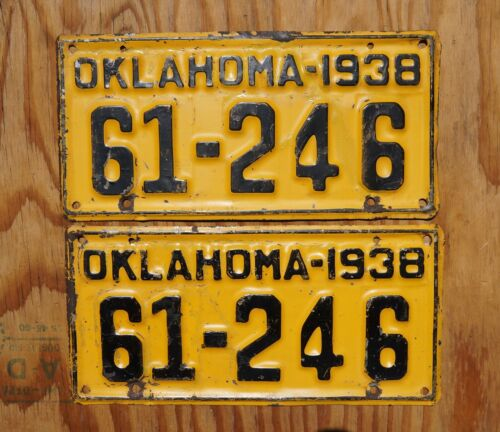 1938 Oklahoma License Plate PAIR / SET