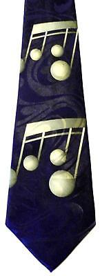 Notes Navy Blue Necktie - NEW! Large Olive Green Music Notes on Navy Blue Novelty Necktie 1179-L
