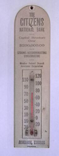 Vintage Wooden Thermometer - Citizens National Bank - Anthony Kansas KS