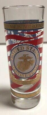 United States Marine Corps Tall Shot glass USMC Military Logo w/ Red Blue & Gold Marine Corps Glass