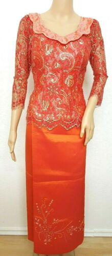 Cambodia Khmer Traditional Out fit Women Size M Red Formal Lace Top Khmer skirt