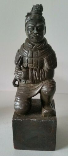 Carved Black Stone Military Kneeling Chinese Warrior Seal Stamp Soapstone