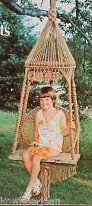 Macrame Home Furnishings: chair, shelves, planters.  Vintage patterns - see pics