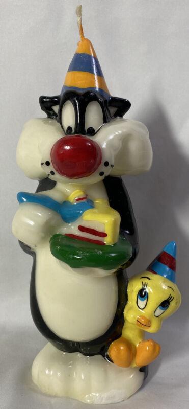 "RARE! Vintage 1995 Looney Tunes ~ Birthday SYLVESTER & TWEETY ~ 9"" Wax Candle"
