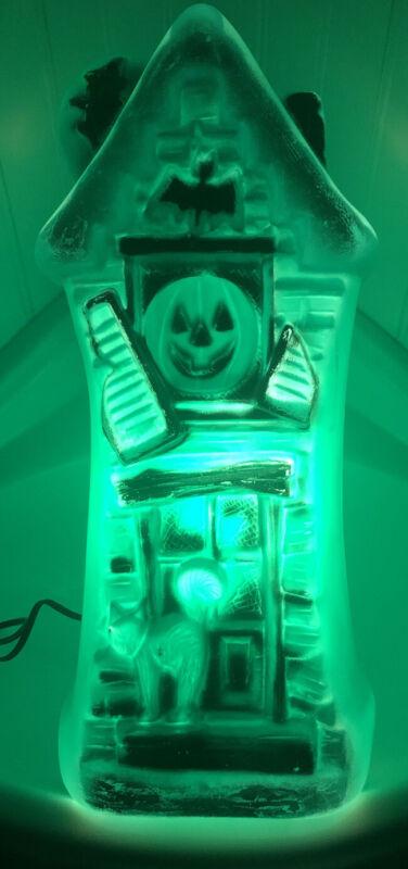 "VINTAGE 17"" Halloween Blow Mold GREEN Haunted House w Cat + Jack O Lantern-WORKS"