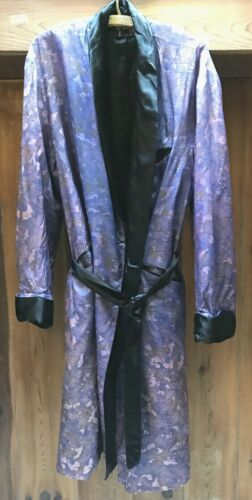 mens vintage robe SMOKING JACKET LOUNGE purple Patterned