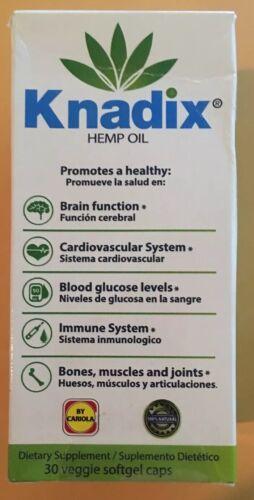 KNADIX HEMP OIL 30 VEGGIE CAPS. BRAIN/CARDIOVASCULAR/BLOOD GLUCOSE/IMMUNE 5/2021