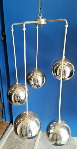 Retro Mid Century Modern Atomic  5 Tier Chrome Orbs Swag Hanging Lamp Light