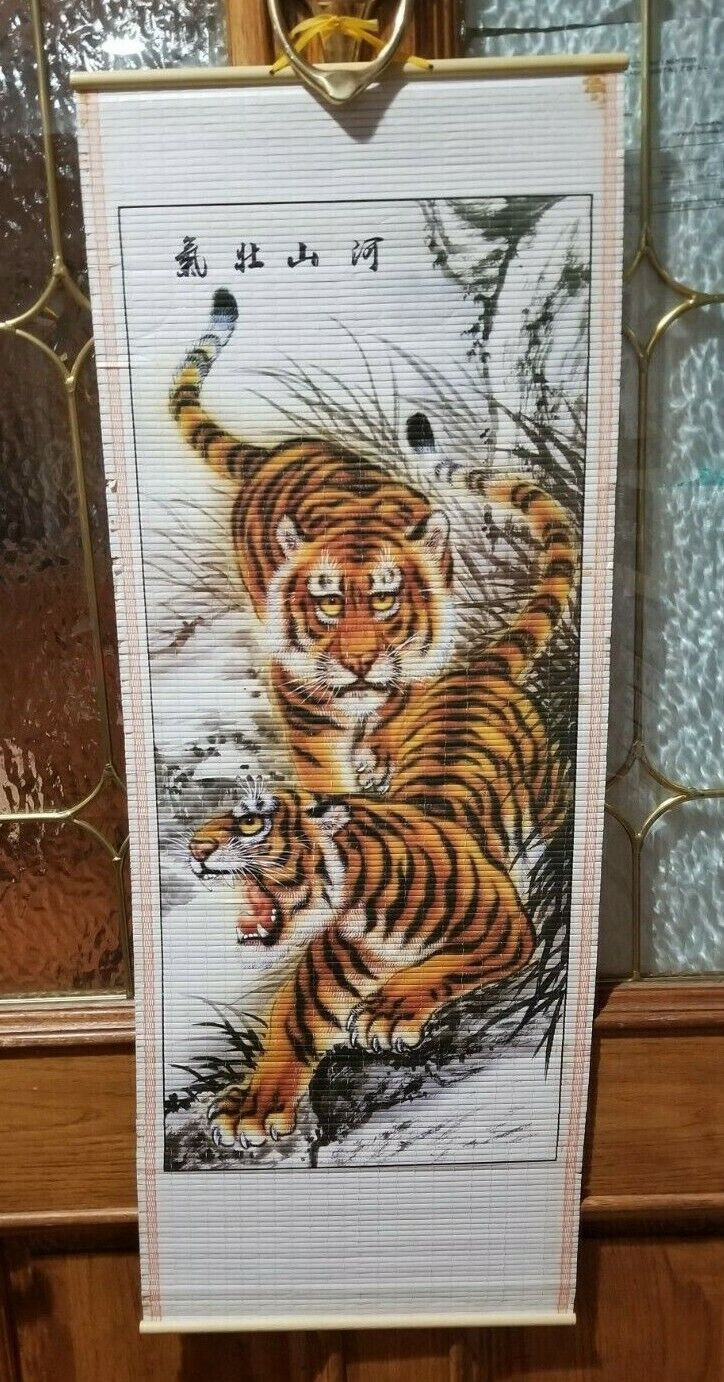 CHINESE TIGER WALL HANGING BAMBOO CANE SCROLL - Fast Shippin