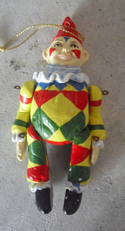 "Vintage 1970s Jointed Ceramic Clown Christmas Ornament 4 1/2"" Tall"
