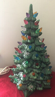 "Vintage 1980 Ceramic Textured Christmas Tree Green 13"" EUC Multi-Colored Bulbs"
