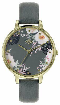 Spirit Ladies ASPL116 Floral Dial Grey Faux Leather Strap Watch