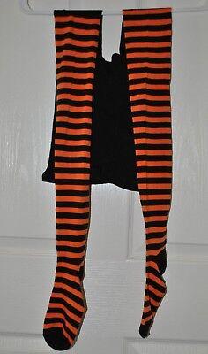Halloween Striped Black & Orange Tights One Size Fits Most  - Halloween Orange Striped Tights