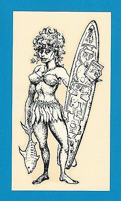 "VINTAGE ORIGINAL 1963 GREMLIN ""SURFER GIRL"" SURFING DECAL ART MICHAEL DORMER"