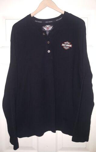 Harley Davidson Men's Knit Henley Black Long Sleeve Shirt 99011-07VM sz. Large