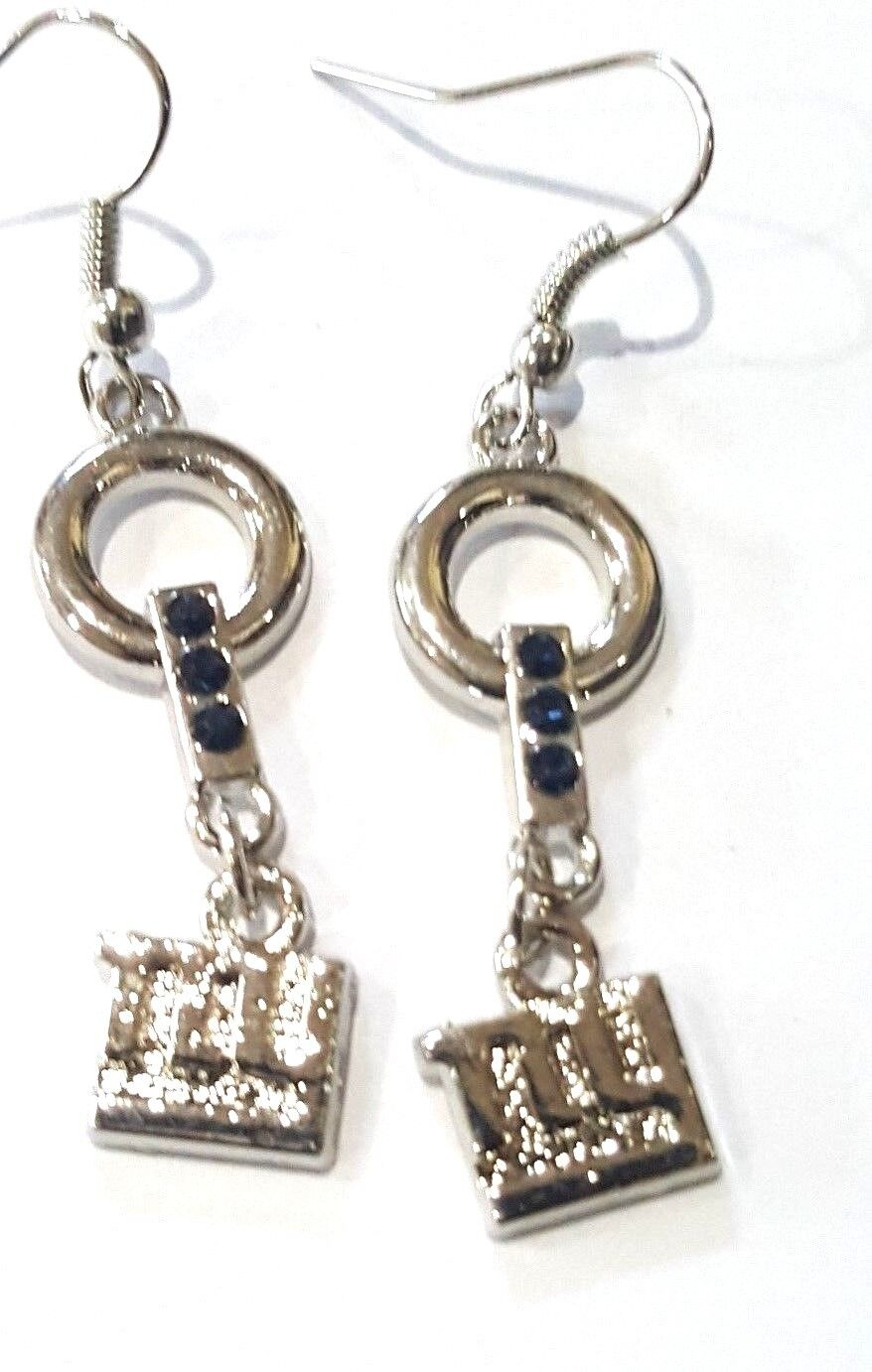 New York Giants Earrings with Blue Crystals