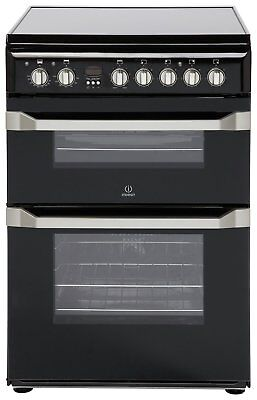 Indesit ID60C2 Free Standing 60cm 4 Ceramic Hob Double Electric Cooker - Black.