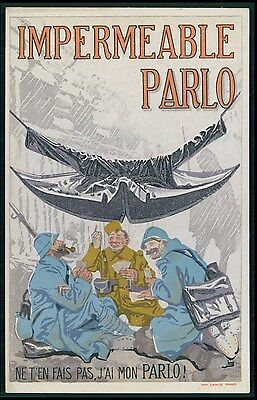 advertising Raincoat male fashion original c1910s poster postcard ww1 WWI war