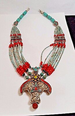 """NEPALESE ARTISAN HANDMADE TURQUOISE CORAL .925 SILVER PLATED NECKLACE 18"""""""
