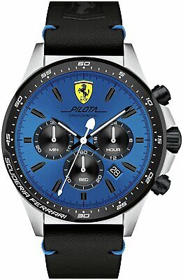 Scuderia Ferrari Pilota Men's Black Plastic Strap Watch - Blue.