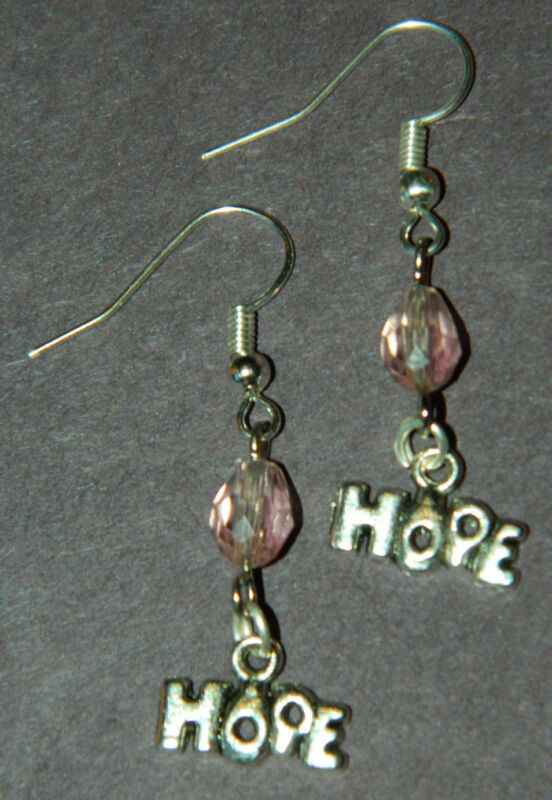 Handmade Pink Crystal Breast Cancer Awareness Silver Dangle EARRINGS NEW HOPE