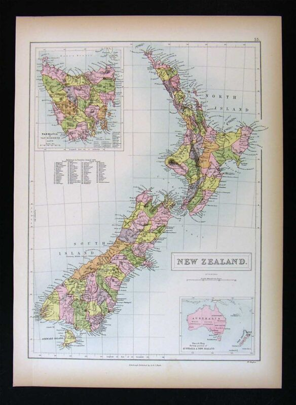 1879 Black Atlas Map - New Zealand - Tasmania Wellington Aukland Albert Nelson
