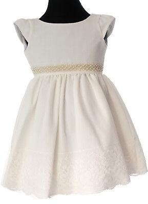 Kleid Babykleid Baby Kleidchen 80-92 Weihnachten Taufe Creme Weiß Gold Spitze ()