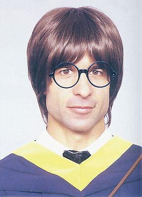 Brown Wig School Boy 60s 70s Geek Nerd Wizard Beetles Fancy Dress Costume ()