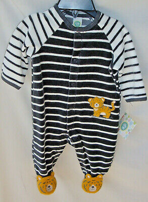 LITTLE ME Long Sleeve Stripe VELOUR BABY TIGER Footie BOY SIZE 3 MO NWT