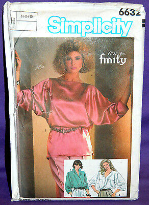Uncut Simplicity Misses 6-10 Pullover Loose-Fitting Tops Pattern 6632 Blouse