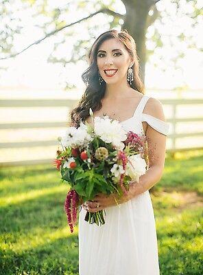 preowned fashion, boho bride white dress in XXS