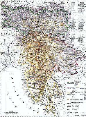 173 Jahre alte Landkarte K.u.K. ILLYRIEN Kärnten Krain Görz Istrien Triest 1844