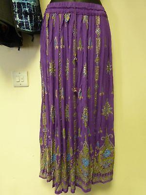 b0320de3c9c Femmes Indien Bollywood Sequin   Imprimé Floral Froissé Jupe - Violet  d occasion Expédié en Plus de photos