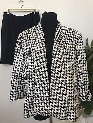 NWT Kasper Women's Career Black Ivory 100% Polyester 2 Piece Skirt Suit Size 14.