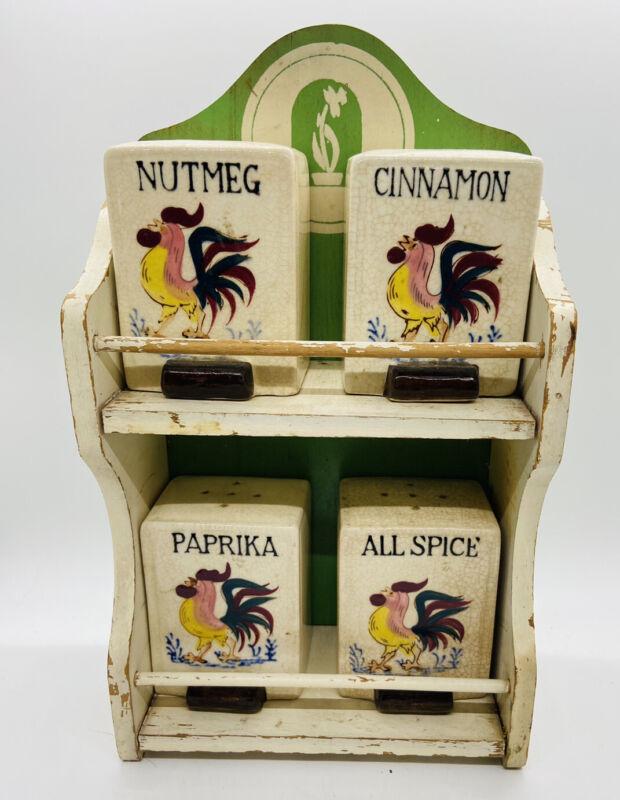 Vintage Universal Wood Spice Cabinet Rack Shelf Country Kitchen Tins