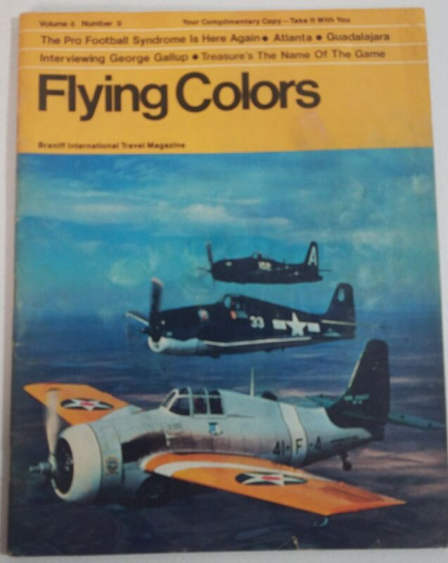 Braniff Airlines International Flying Colors Magazine Brochure Vintage 70