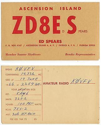 1966 Ascension Island Radio ZD8ES QSL card - used - Ed Spears