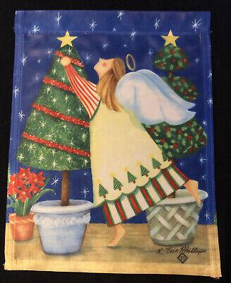 "Toland Small Garden Flag 11""x14"" ANGEL w/ CHRISTMAS TREES Winter Scene"