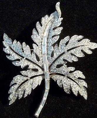 Vintage Trifari Brooch Rhinestone Figural Dimensional Leaf Pave Rhinestones