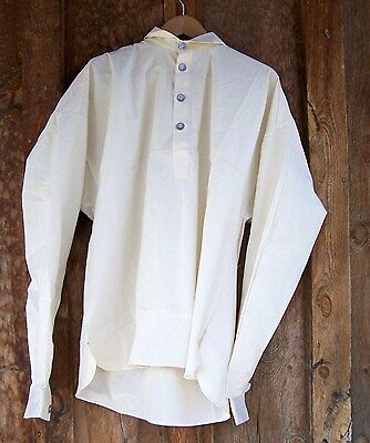 CIVIL WAR  WHITE MUSLIN  SHIRT WITH PEWTER BUTTONS   LARGE