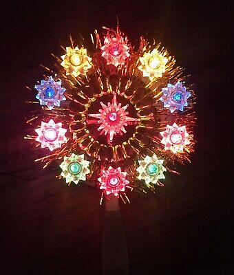 Vintage 11 Light Pom Pom Christmas Tree Top Topper Multi Color NIB Gold Shiny