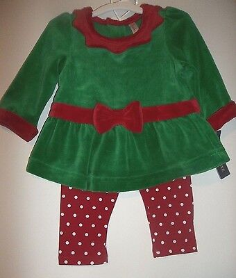 Elf Girls Cherokee Christmas 2 piece Outfit Red / Green -- Sz 6 months -- NWT ()
