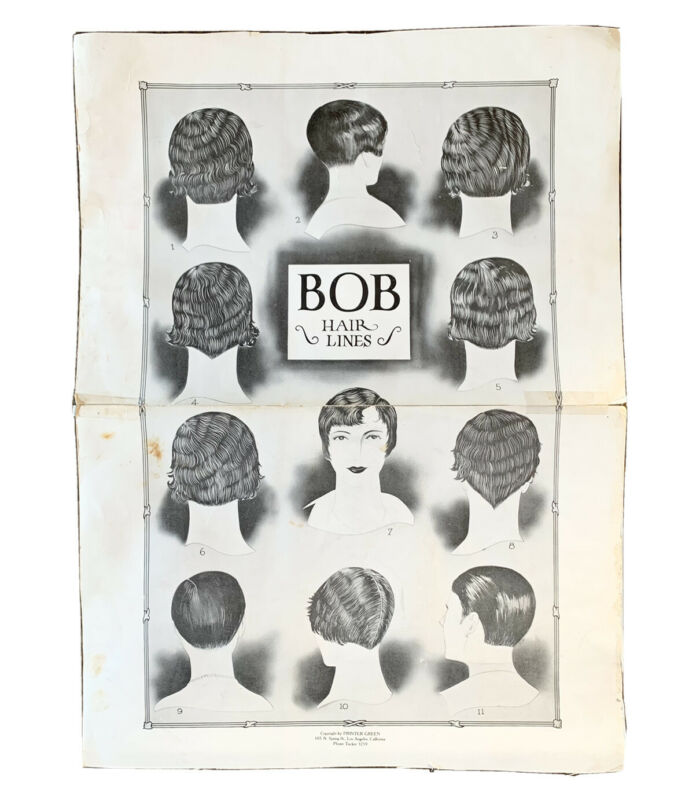 1920's Bob Hair Lines Los Angeles Advertising Sign Beauty Shop Poster Flapper