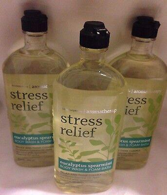 3-Bath-Body-Works-Aromatherapy-Stress-Relief-Eucalyptus-Spearmint-Body-Wash