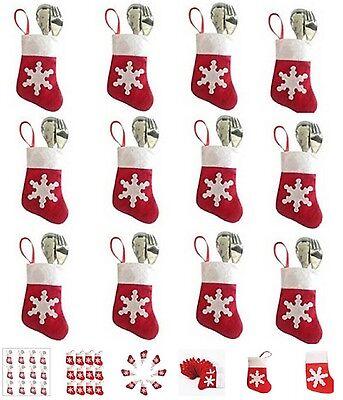 + set da 6 CALZINI PORTA posate natalizie rosse con fiocco di neve NATALE